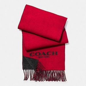 Coach Wool/Cashmere Blend Scarf Reversible Red